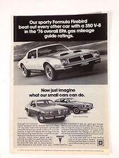 1976 Pontiac Formula Firebird Original Print Ad GM Car Automobile