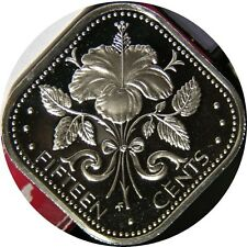 elf Bahamas 15 Cents 1975 Proof  Hibiscus  Flower