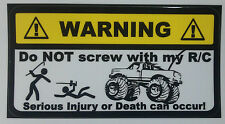RC TRUCK Warning Decal - nitro electric gas HPI losi traxxas  kyosho ae