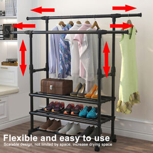 3 Tier Portable Double Rolling Rail Adjustable Clothes Garment Rack Hanger US
