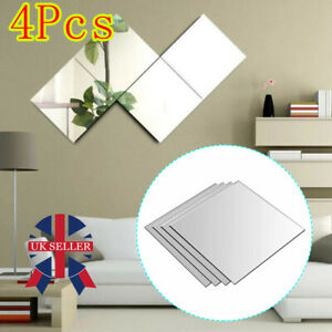 30*30cm Square Mirror Tiles Wall Stickers Self Adhesive Decor Stick On Art Home