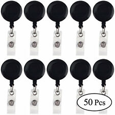 50 Pcs Black Retractable Badge Reel ID Key Card Name Tags Holders Belt Clip