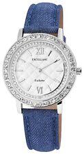 Damenuhr Silber Blau Strass Analog Metall Leder Armbanduhr X-195022500221