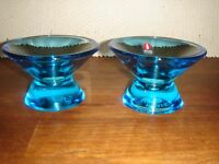 2 Light Blue KARTIO candle holders by KAJ FRANCK for IITTALA Finland