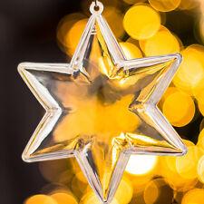 x 20 PLÁSTICO Transparente en forma de Estrella Decoración Navidad 100mm adorno