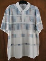 NEW Men's XL Greg Norman Golf Polo Attack Life Play-Dry Short Sleeve White Blue