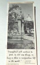 Original 1964 Disneyland Year by Year Vital Statistics Press Handout