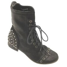 Gianni Bini Boots Black Distressed Leather Studded 8M Bling On Combat Military
