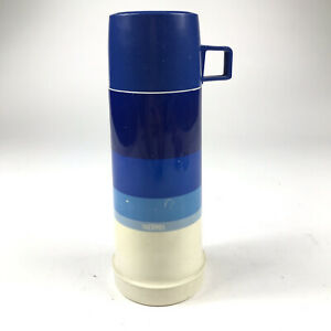 Vintage Thermos King Seeley Blue White Vacuum Bottle Glass Insert Flip Por Spout