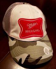 352ae5d47525c Miller HIGH LIFE Baseball Ball Cap Hat - Camo mesh retro style beer NEW w