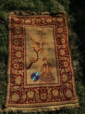 Chinese Antique Rug Carpet Wool Runner Handmade Music Peacock Bird Flower Art