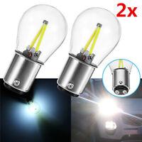 2x 1157 BA15D DC 12V COB LED White Bulb Tail Car Reverse Backup Brake Light Lamp