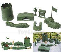 7 pcs Military Tent Sandbag Flag Fort Models Toy Soldier Army Men Accessories