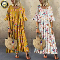 Plus Size Summer Womens Boho Short Sleeve Kaftan Casual Flower Long Maxi Dress
