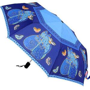 Laurel Burch Indigo Cats & Butterflies Blue Compact Umbrella Auto Open & Close
