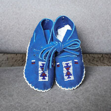 CHEYENNE-ROYAL BLUE BEADED LEATHER BABY MOCCASINS-JANET WHITEMAN-NATIVE AMERICAN