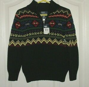 NWT Ralph Lauren Boys Black Green Red & Yellow Fair Isle Half-Zip Sweater Sz 5