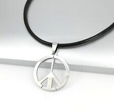 Silver Woodstock Hippy Hippie Retro Peace Pendant Black Leather Surfer Necklace