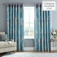 Catherine Lansfield Canterbury Floral Teal & Grey Fully Lined Eyelet Curtains