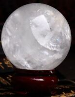 NATURAL RAINBOW CLEAR QUARTZ CRYSTAL SPHERE BALL HEALING GEMSTONE 40-100mm+stand