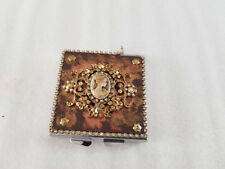 VINTAGE WOMAN CAMEO ORNATE BRASS FLOWERS RHINESTONES PURSE HAND COMPACT MIRROR