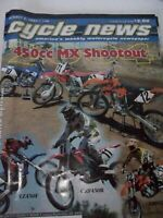 CYCLE NEWS MOTORCYCLE NEWSPAPER OCT 2003, 450CC MC SHOOTOUT, YZ450F,CRF450R