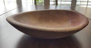 Vintage Hand Carved Wooden Natural Wooden Bowl Primitive