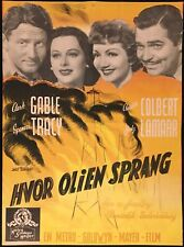 Boom Town Vintage Movie Poster Spencer Tracey Clark Gable Claudette Colbert 1940