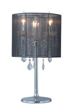 New Bedside Vintage Style Designer Crystal Table Lamp Black or White Round Shade