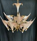 MURANO Two-tier Italian Art Nouveau Calla Lily Brass Chandelier Franco Luce