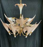 MURANO Palm Beach Italian Art Nouveau Calla Lily Brass Chandelier Franco Luce