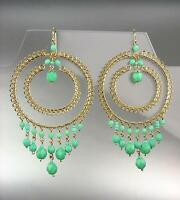 LUXURIOUS Artisanal Turquoise Blue Crystal Gold Chandelier Earrings