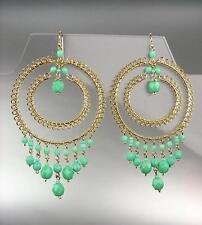 5e6e8df75bd8 Lujo Artisanal Azul Turquesa Cristal Oro Pendientes de Araña