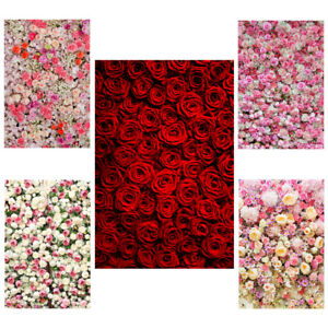 3X5FT 5X7FT Rose Flower Wall Backdrops Wedding Party Decor Photo Background