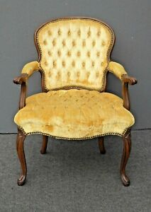 Vintage French Provincial Tufted Gold Velvet Accent Arm Chair w Decorative Nails