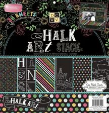 "Chalk Art Stack 12"" x 12"" Cardstock 36 Papers DCWV Scrapbook Crafts Doodles New"