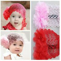 Flower Lace Headband Hair Band Headwear Beanie Hat 3Color Baby Girl Toddler Kid