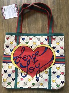 Brighton NEW Womens Large Love & Joy Shopper Shoulder Canvas Tote Bag MSRP $125
