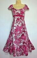PER UNA Pink and White Cotton Floral Midi Dress Size 12 L Tall Long Summer