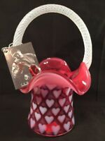 Fenton Art Glass Cranberry Opalescent Heart Basket LIMITED