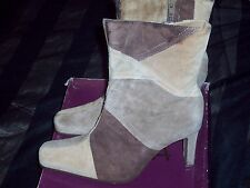 PAPRIKA DITTO STYLE TAN MULTICOLOR PIG SUEDE HIGHHEELS ANKLE BOOTS SIZE 10M