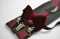 Burgundy Dark Red Velvet Bow tie + Wine Red Elastic Suspenders for all ages