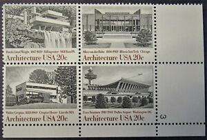 #2022a Architecture 1982 - MH - Block of 4 20 Cent U.S. Stamps