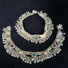 Swati Sterling Silver Bollywood Bridal Ankle Bracelets w/Gemstones WB8-SBJ14