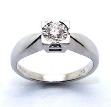 da donna / donna, 9ct/9 carati ANELLO ORO BIANCO Set con un diamante solitario,