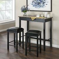 3 Piece Pub Style Dining Set Table Chairs Faux Marble Kitchen Counter Stool
