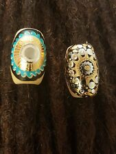 1 Golden and 1 turquoise sun Dreadlock beads - dread bead - accessory 10mm hole.