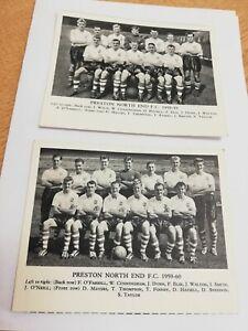 2 x 1950s Preston North End football picture cards