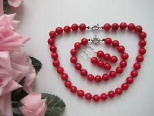 10 mm Red Coral Gem Bead Necklace Bracelet & Earrings - Set.