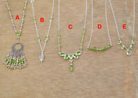 925 Sterling Silver Jewelry Natural  Peridot Amethyst Gemstone Necklace MN3190